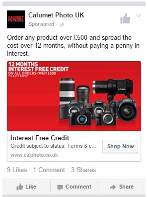Facebook ad example camera