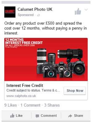 Facebook ad example camera