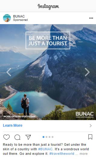 Instagram advertising travel example